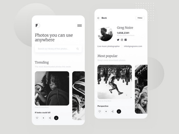 black and white, dark mode, web site design, web site design trends, mobile app
